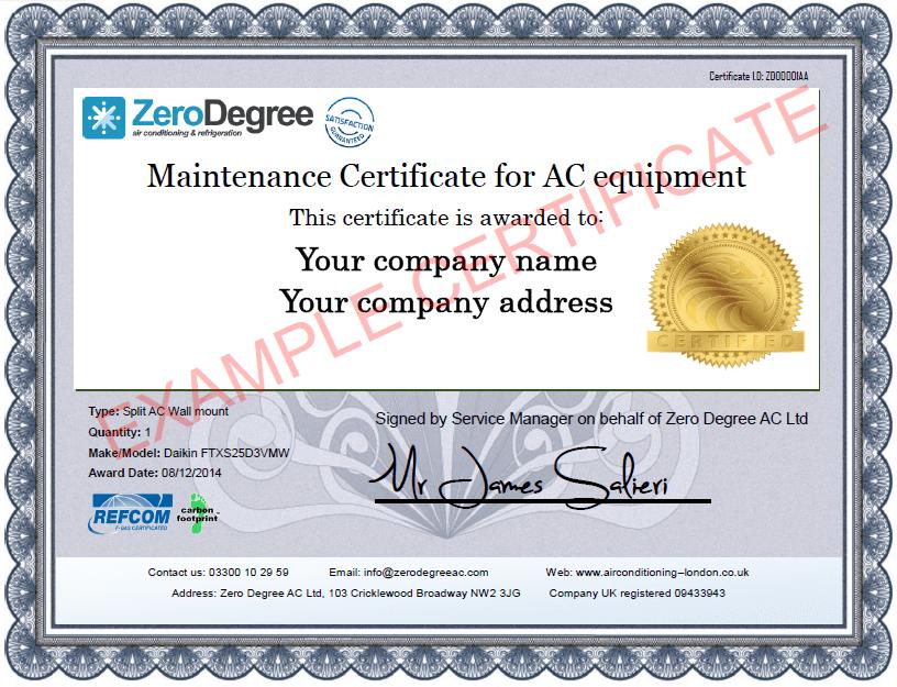 Maintenance Certificates Zero Degree Air Conditioning London